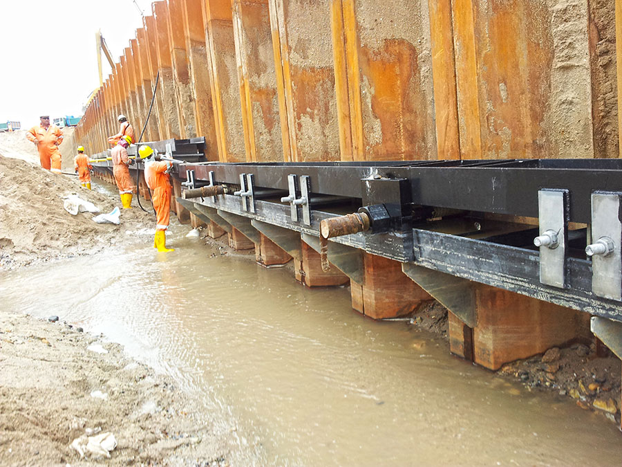 Waling Beam Systems | Anchored Sheet Pile | Marine