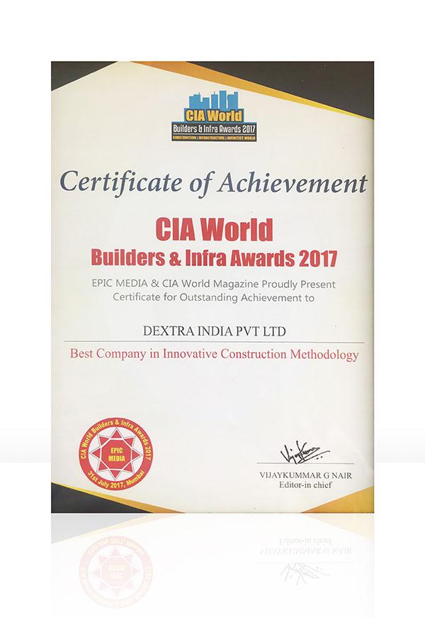 Awarded at Mumbai CIA World Builders & Infra 2017 - Dextra